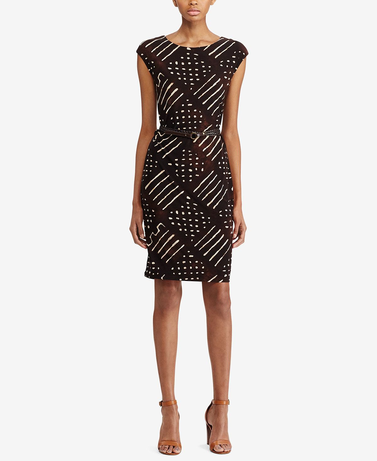 Lauren ralph lauren geometricprint jersey dress dresses