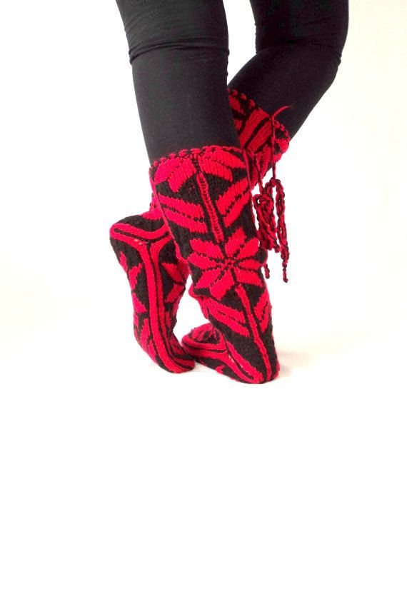 Snow Pattern, Comfy, Red Slippers, Warm Slippers, Christmas Gift ...