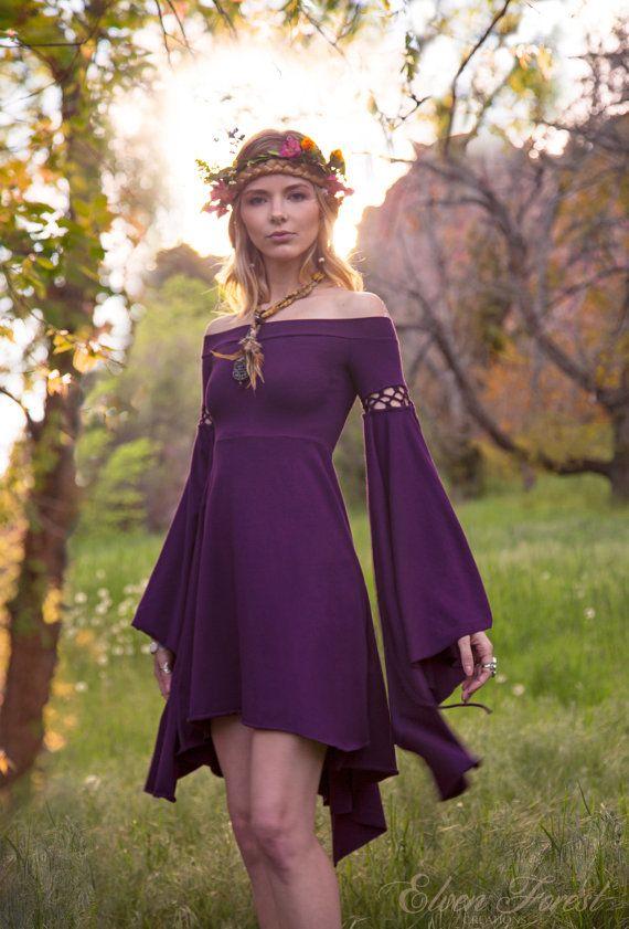 Summer's Eve Dress ~ Elven Forest, Bohemian, Romantic, Elven Dress, Festival Clothing, Ren Faire, Fairy, Boho, Fun Sleeves, Renaissance