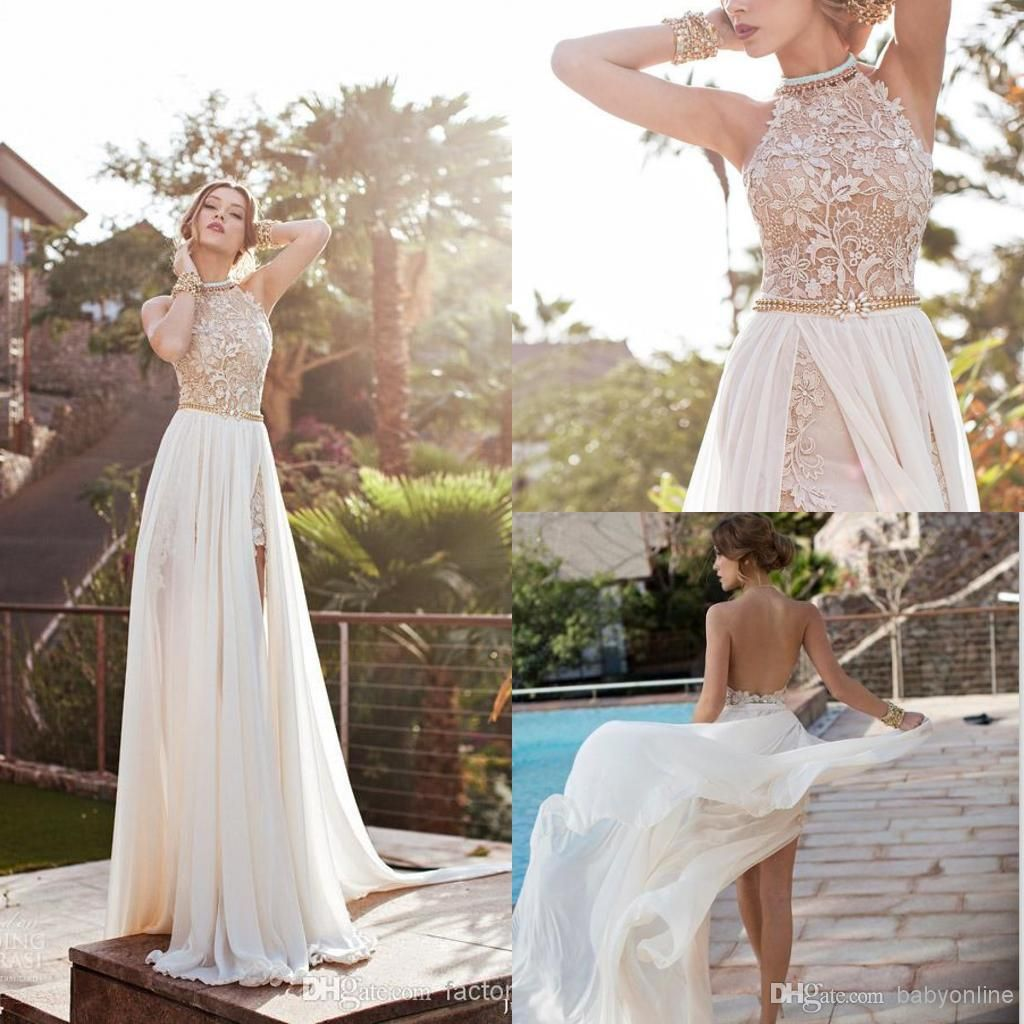 c23b4039a43ce 2018 Halter Lace Top Sexy Backless Beach Prom Dresses Cheap Eight ...