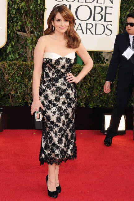 Tina Fey Golden Globes 2013 Red Carpet Dresses - Golden Globes 2012 Red Carpet : L'Wren Scott lace dress
