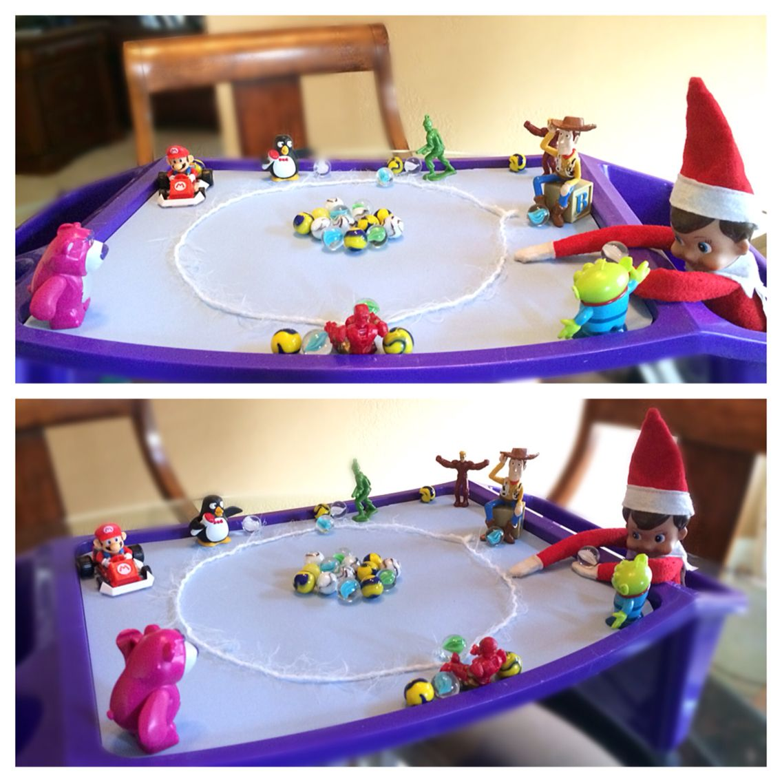 Tommy The Elf Plays A Game Of Marbles With Some Playroom Friends Elfontheshelf Marbles The Elf Playroom Holiday