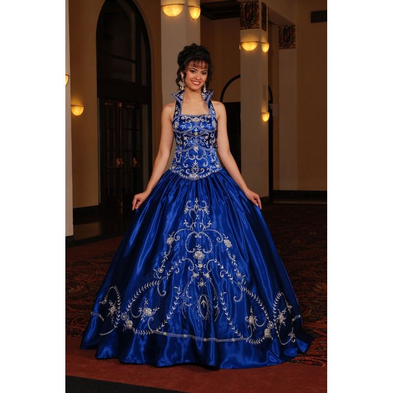 Royal Blue Wedding Dresses Long Halter Ballroom In