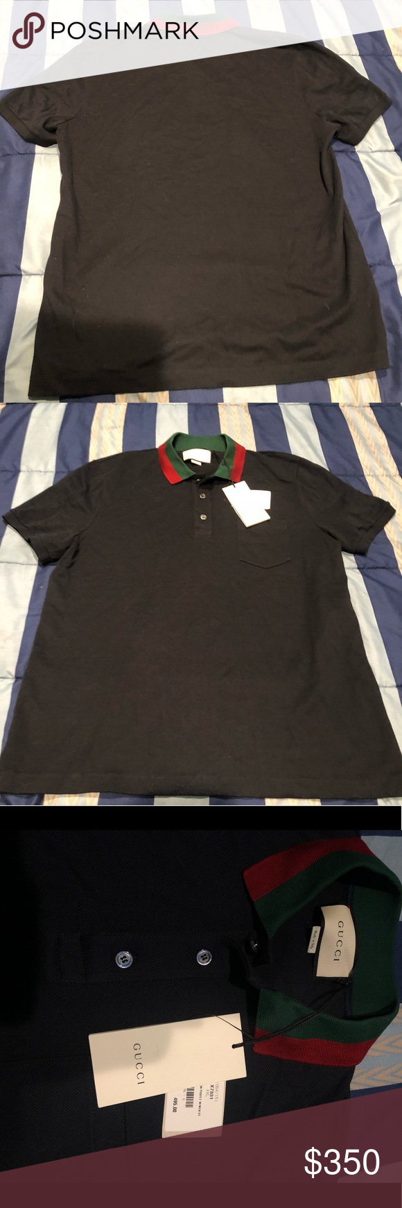 3fd88c72 Gucci black polo with red and green collar Black polo with red and green  collar Size XXL but fits as a L Authentic with tags Worn once Gucci Shirts  Polos