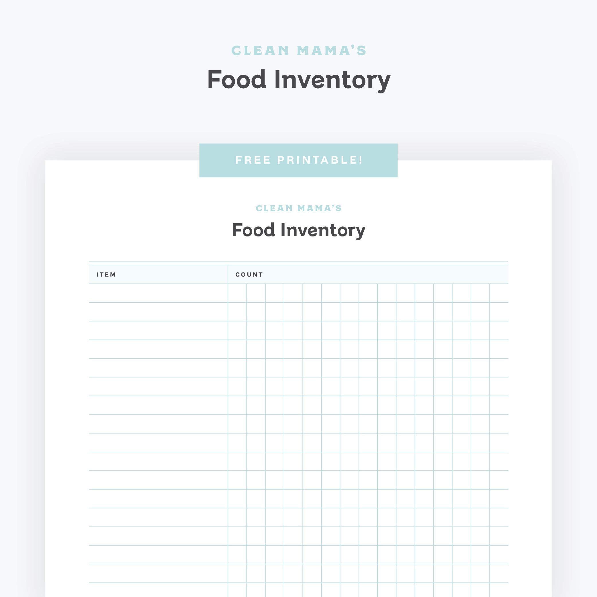 Free Printable Food Inventory Checklist Clean Mama In