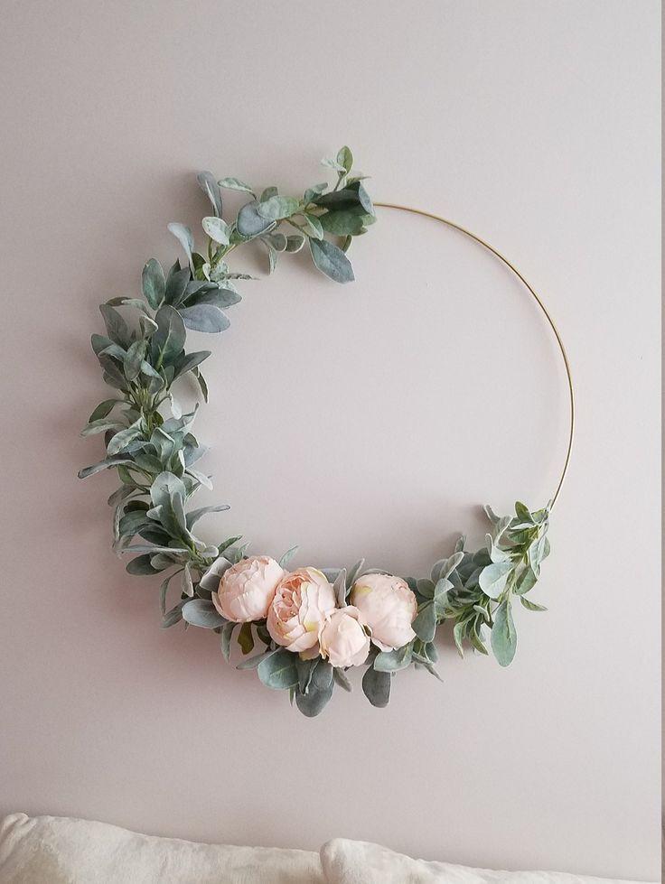 Photo of Modern Hoop Wreath, Large Nursery Wreath, Minimalist Wreath, 23 inch Wreath