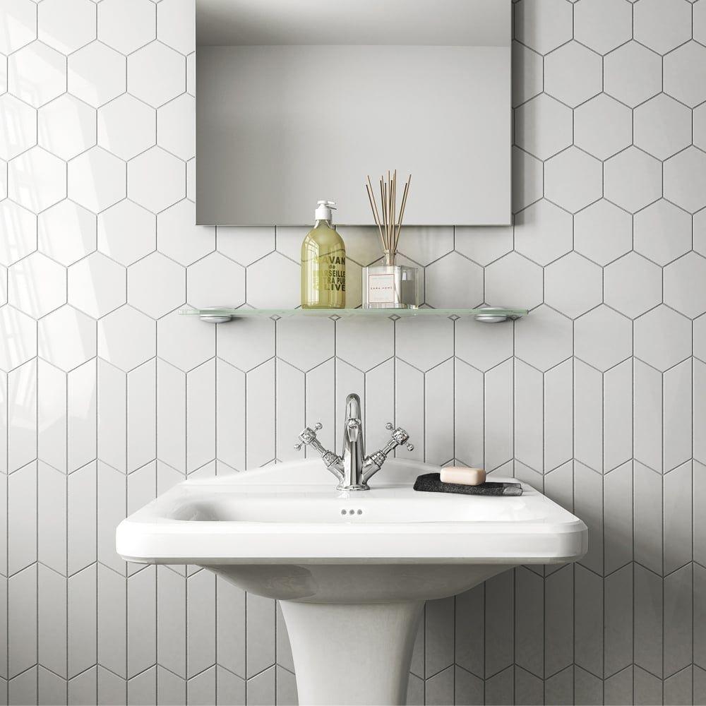 Chevron Light Grey Right 18.6 x 5.2cm Wall Tile PER BOX | Bathrooms ...