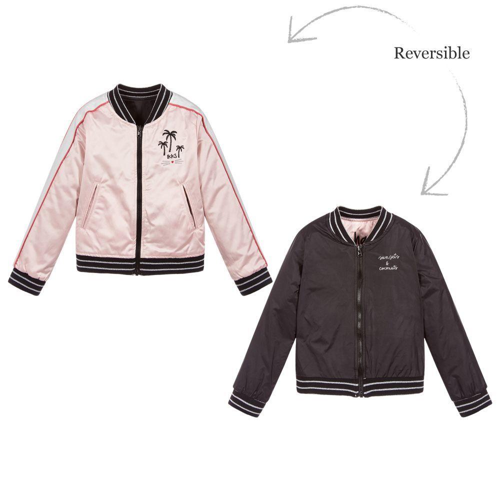 517f932929e1 IKKS Pink Satin Bomber Jacket at Childrensalon.com