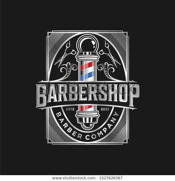 Barbershop Logo Vintage Classic Style Salon Fashion Haircut Pomade Badge Icon Simple Minimalist Modern Barber Pole Barber Shop Barbershop Design Vintage Logo