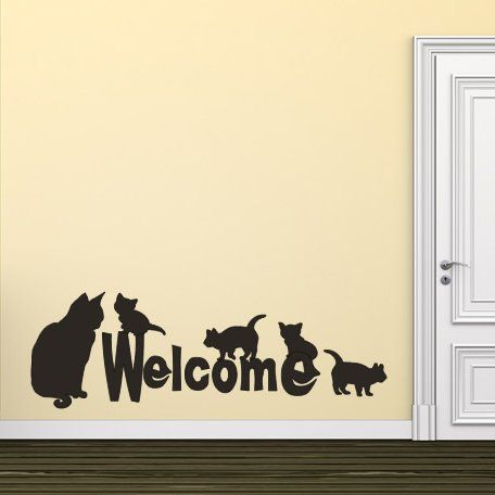 Welcome Cats Cats and Dogs Animals Wall Stickers Wall Art Decals Transfers | eBay
