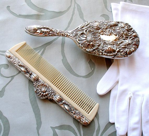 Vintage Vanity Set Ornate Victorian Silver Brush & by retrogroovie