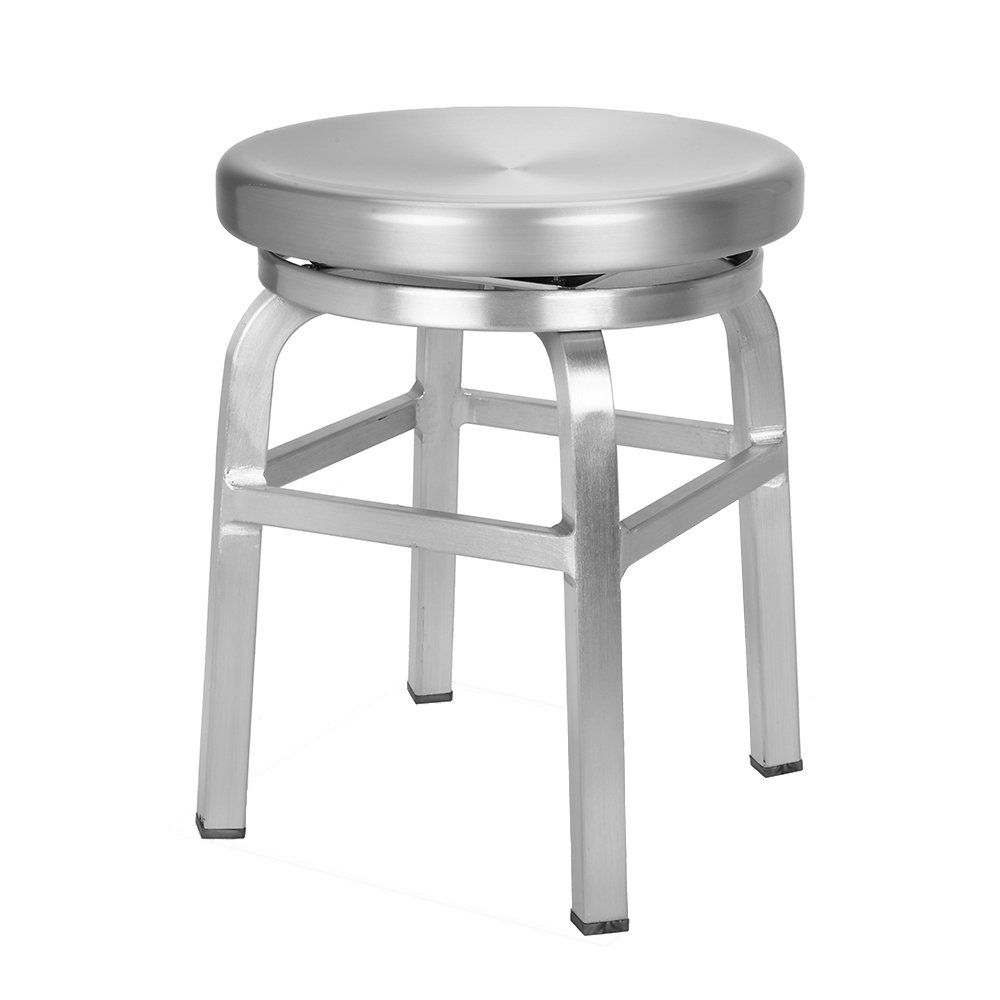 Renovoo Aluminum Swivel Backless Stool Brushed Aluminum Finish 18 Inches Seat Height Indoor And Outdoor Use S Dining Stools Stool Industrial Design Seating