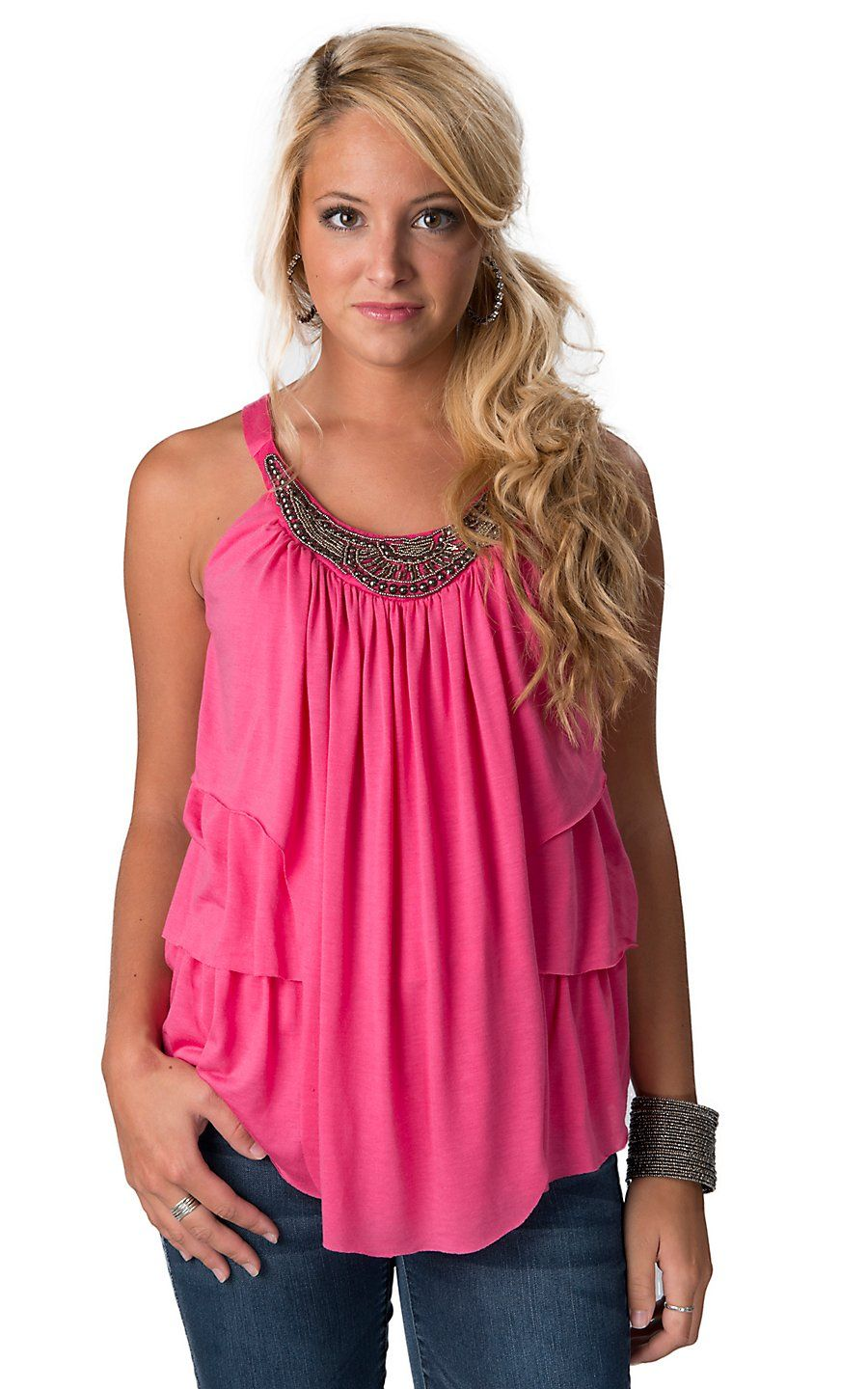 Rock 47™ by Wrangler® Women's Pink with Silver Beaded Neckline and Ruffles Sleeveless Fashion Top | Cavender's Boot City $34.00