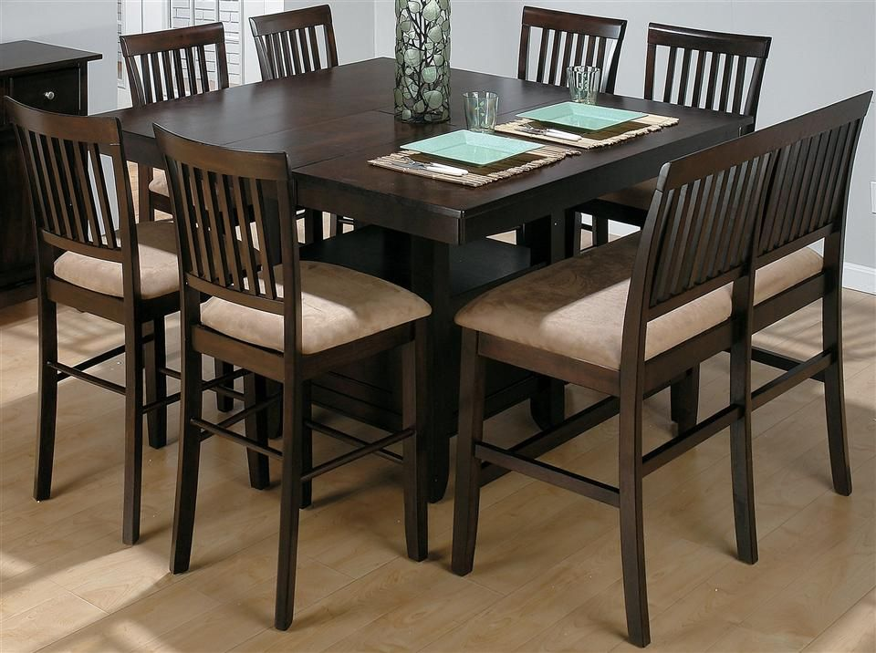8 Pc Counter Height Expansion Dining Set W Bench Bar Height