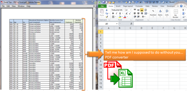 Convert PDF to Excel without PDF converter Excel