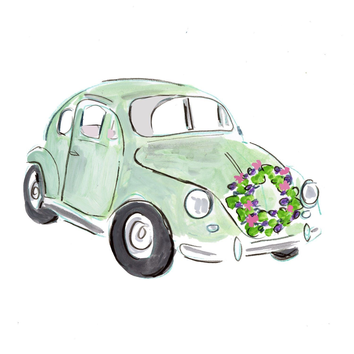 Vintage Vw With Flower Garland Watercolor Clip Art Watercolor