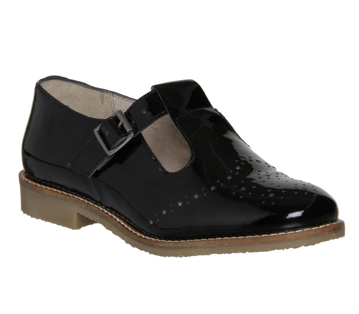 Office L T Bar Black Patent Leather Flats