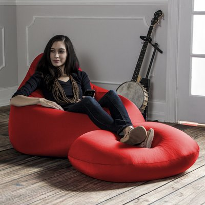 Remarkable Jaxx Nimbus Bean Bag Lounger And Ottoman Color Red In 2019 Customarchery Wood Chair Design Ideas Customarcherynet