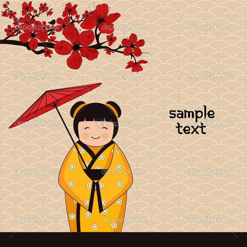 Japanese Style Японский стиль фона с японской девочкой - Стоковая иллюстрация