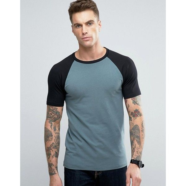 ASOS Muscle Contrast Raglan T-Shirt In Green And Black ($13) ❤ liked on Polyvore featuring men's fashion, men's clothing, men's shirts, men's t-shirts, multi, mens fitted t shirts, mens raglan t shirt, mens slim fit shirts, mens tall slim fit shirts and j crew mens shirts