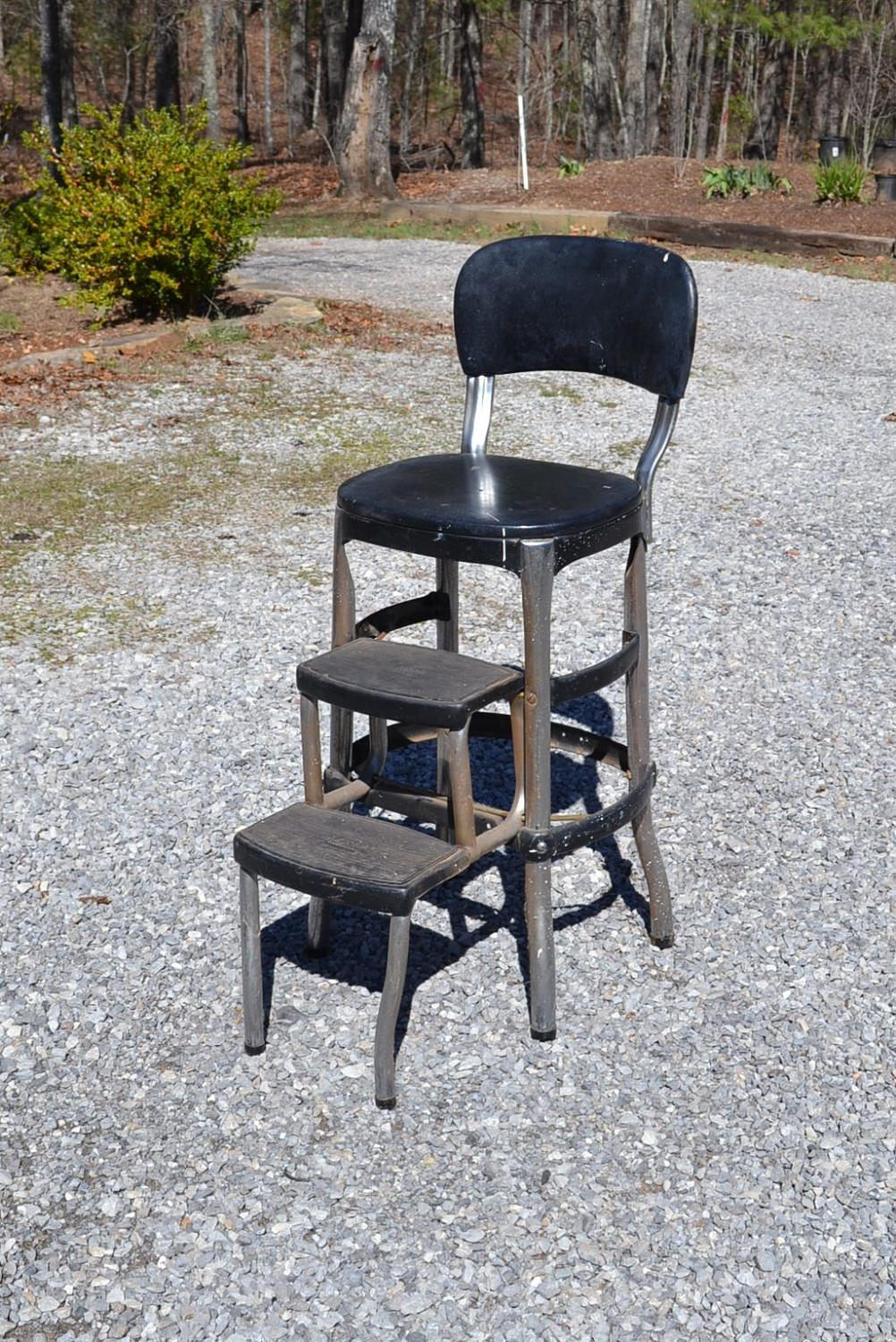 Metal Step Stool Vintage Cosco Kitchen Stool Metal Folding Step Stool Chair Black