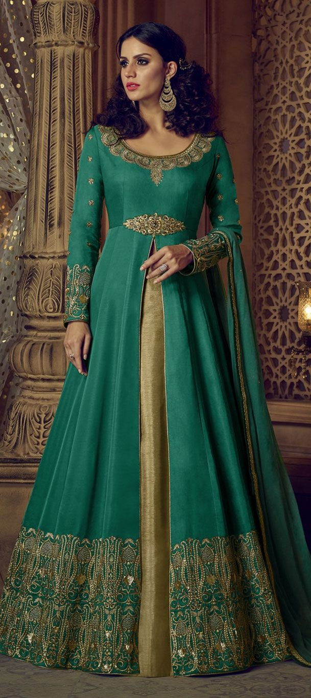 mehendi sangeet beige and brown green color long lehenga