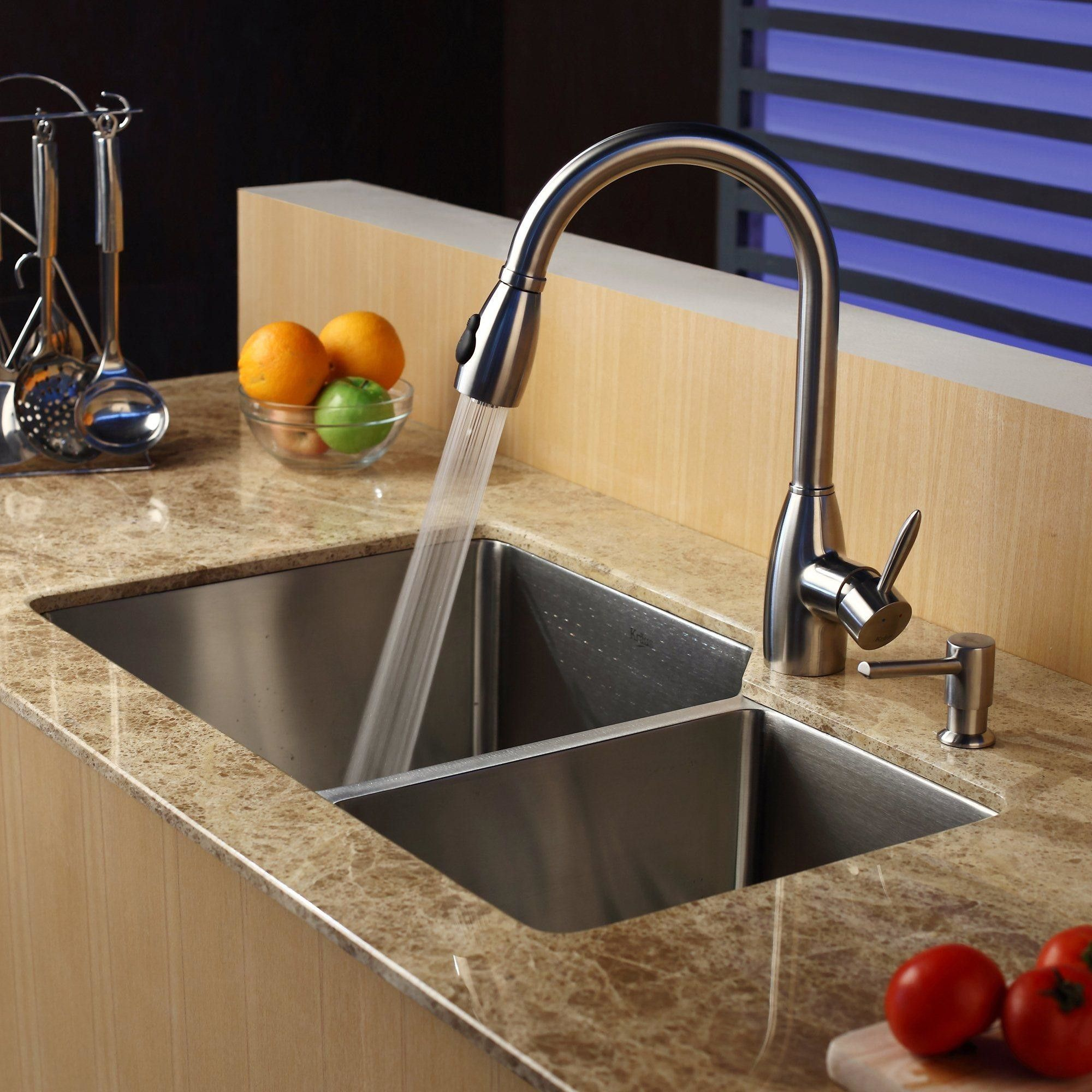 32 x 20 double bowl undermount kitchen sink with faucet and soap