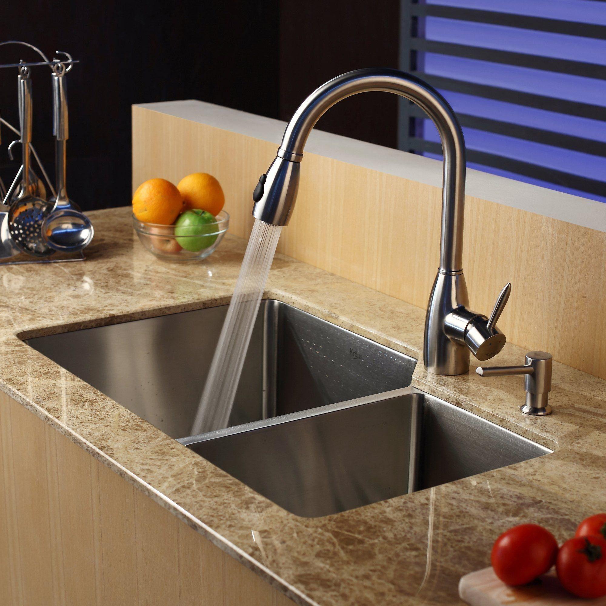 """Kraus 32"""" x 20"""" Double Bowl Undermount Kitchen Sink with ..."""