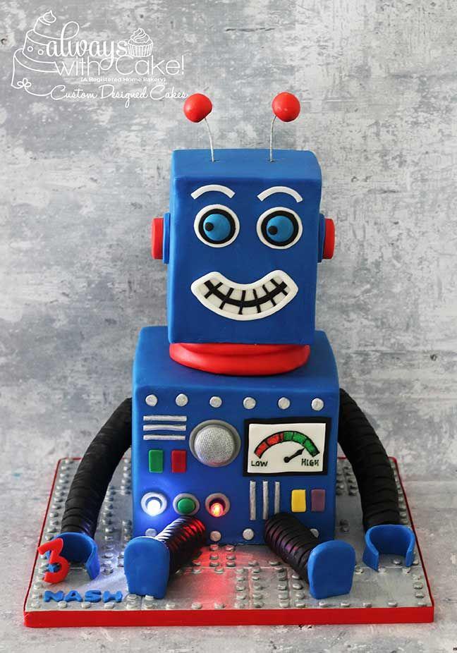 Robot Party Robot Cake Kid Cake In 2019