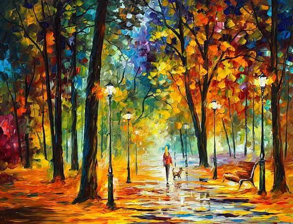 Autumn At Nigth by Leonid Afremov - Autumn At Nigth Painting - Autumn At Nigth Fine Art Prints and Posters for Sale