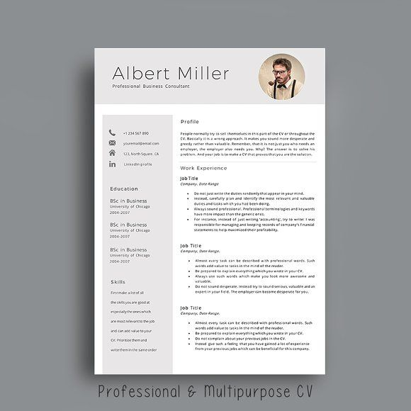 Resume Template With Photo By Avatadesigns On Graphicsauthor