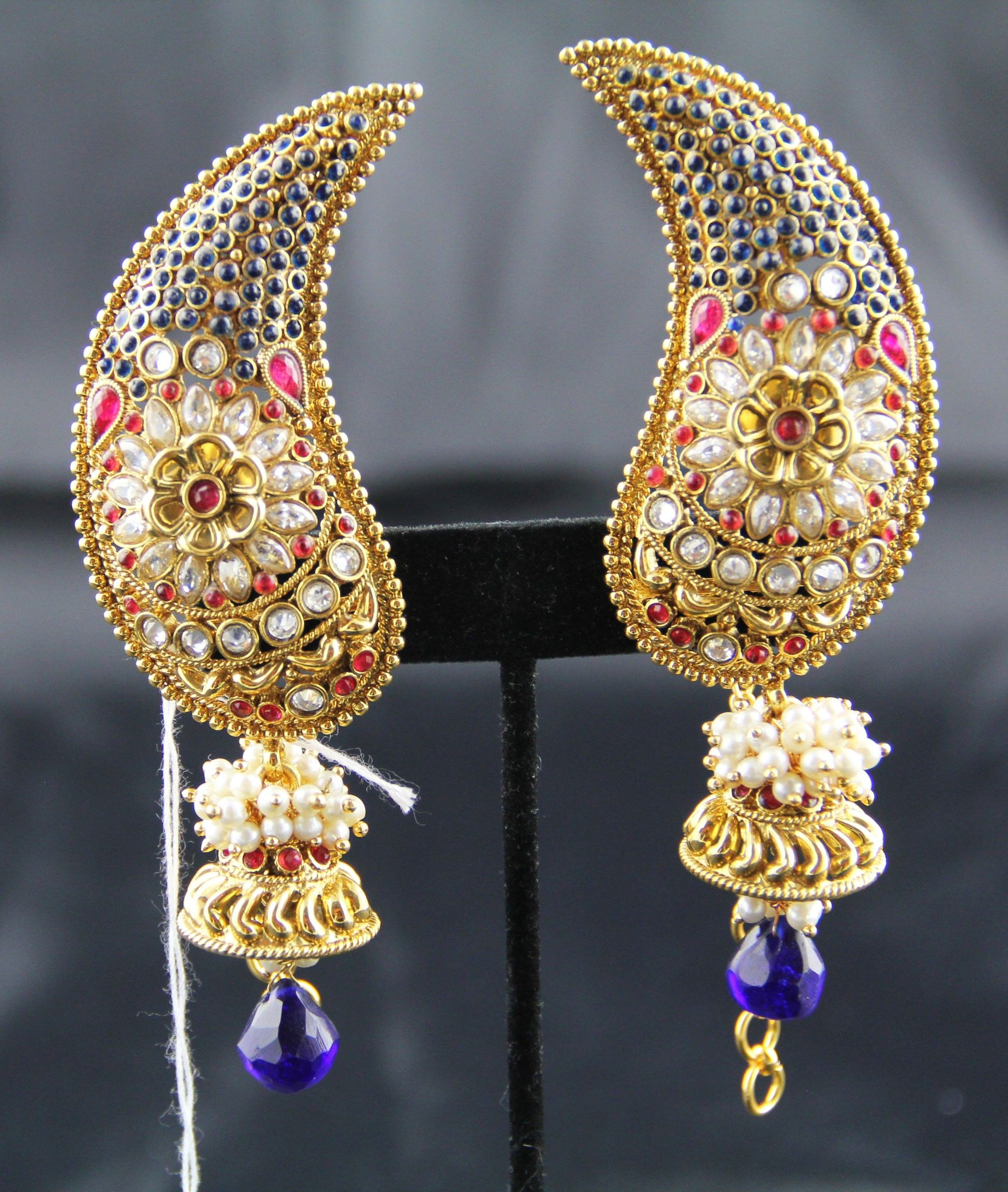 Indian Jewelry Swasam Full Ear Covering White With Blue Red