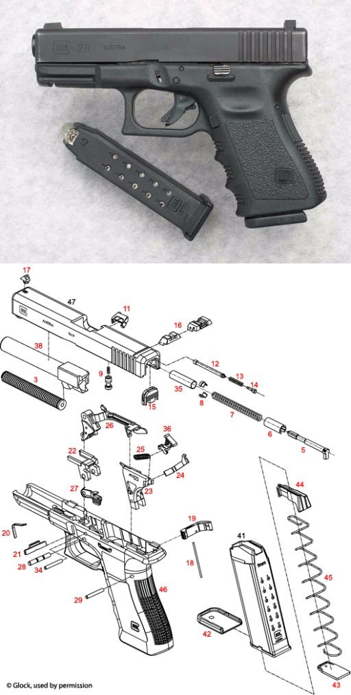 Glock 23 G23 Pistol Semi Auto Firearm Handgun Schematic ... on