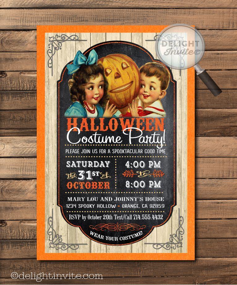 Kid Friendly Vintage Halloween Party Invitations [DI-10419 ...