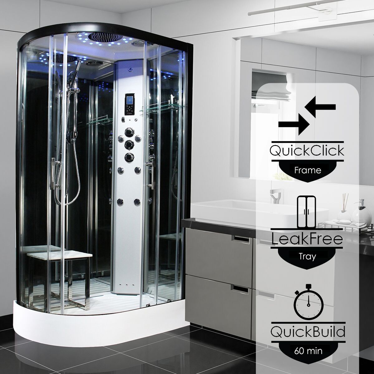 Insignia Platinum Black Frame Offset Quadrant Steam Shower Cabin 1100mm X 700mm Rh Mirrored With Images