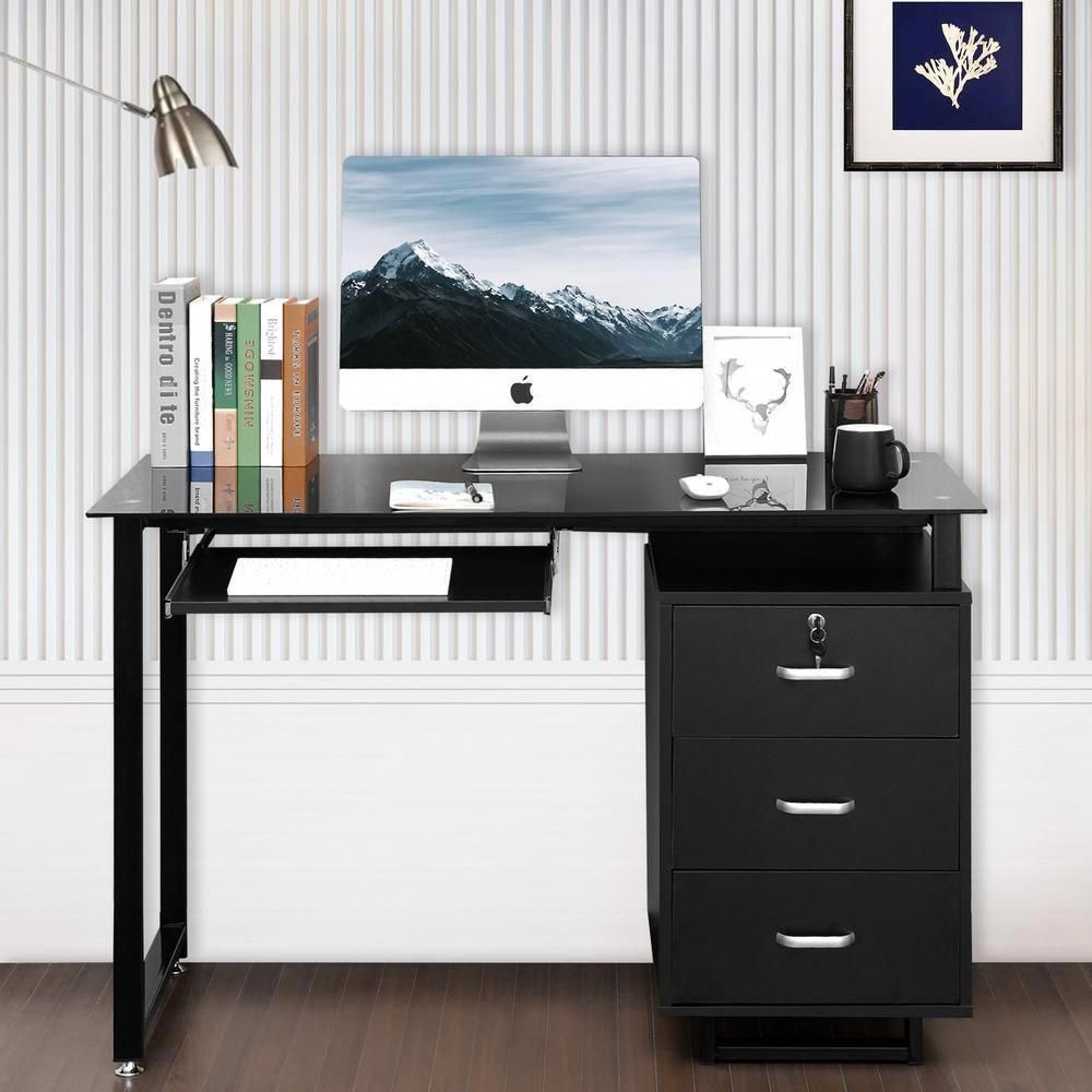 Merax Glass Top Computer Desk With Keyboard Tray And 3 Drawers Black Computerdeskhomeoffice In 2020 Desk With Keyboard Tray Computer Desk Glass Computer Desks