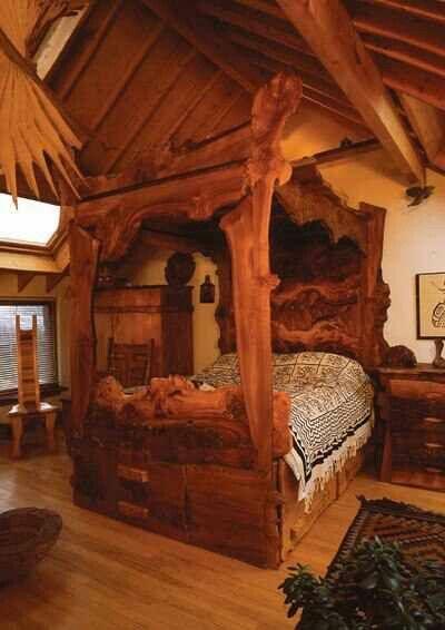 Log cabin dream bedroom pinteres for Log canopy bed frames