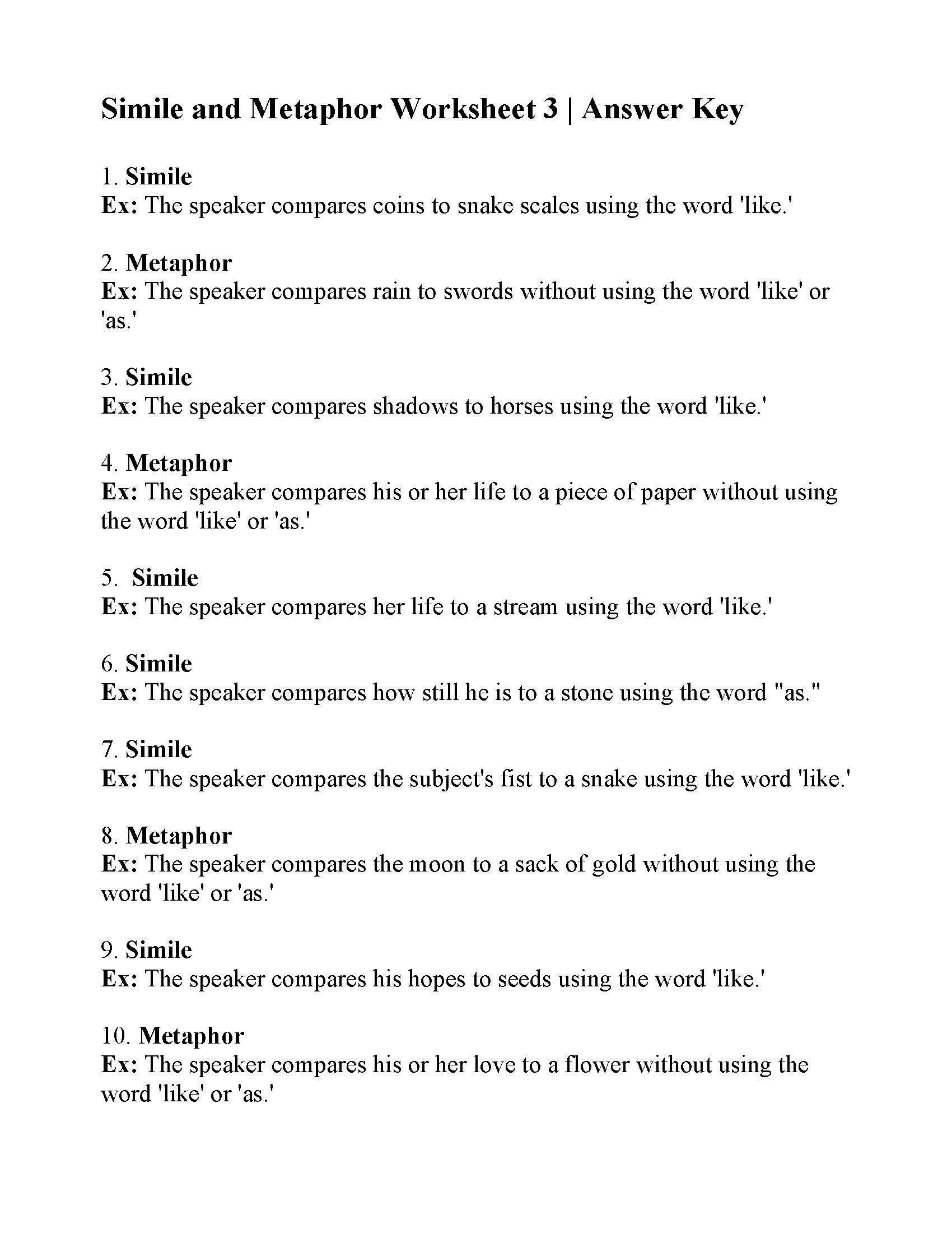 Simile And Metaphor Worksheet Simile And Metaphor