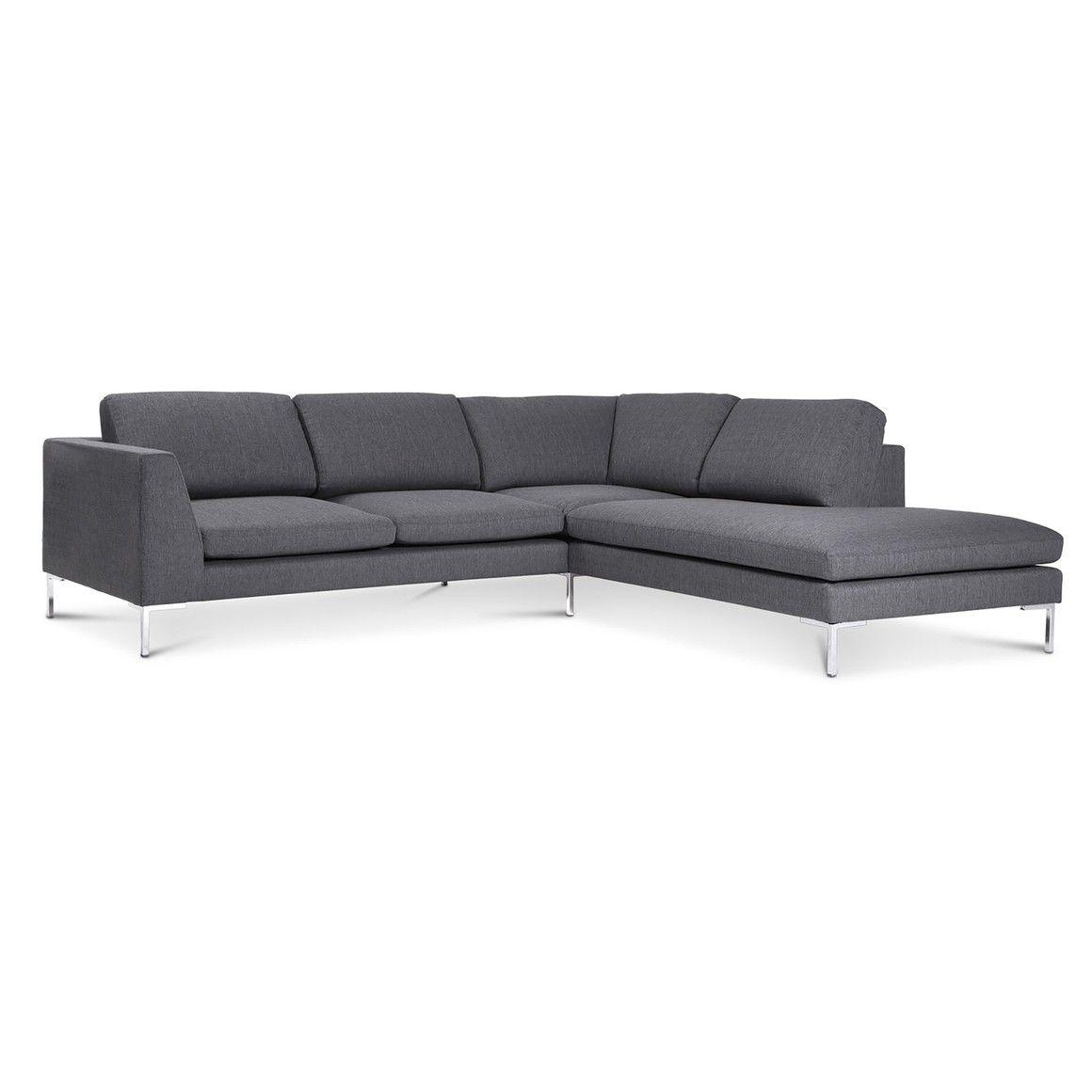 Liebenswert Couch Dunkelgrau Beste Wahl Ecksofa 2er Polyester Mit Recamiere Metallfüsse Grau