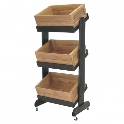 Three Tier Wood Crate Display With Casters Wood Crates At Home Furniture Store Diy Storage Crate