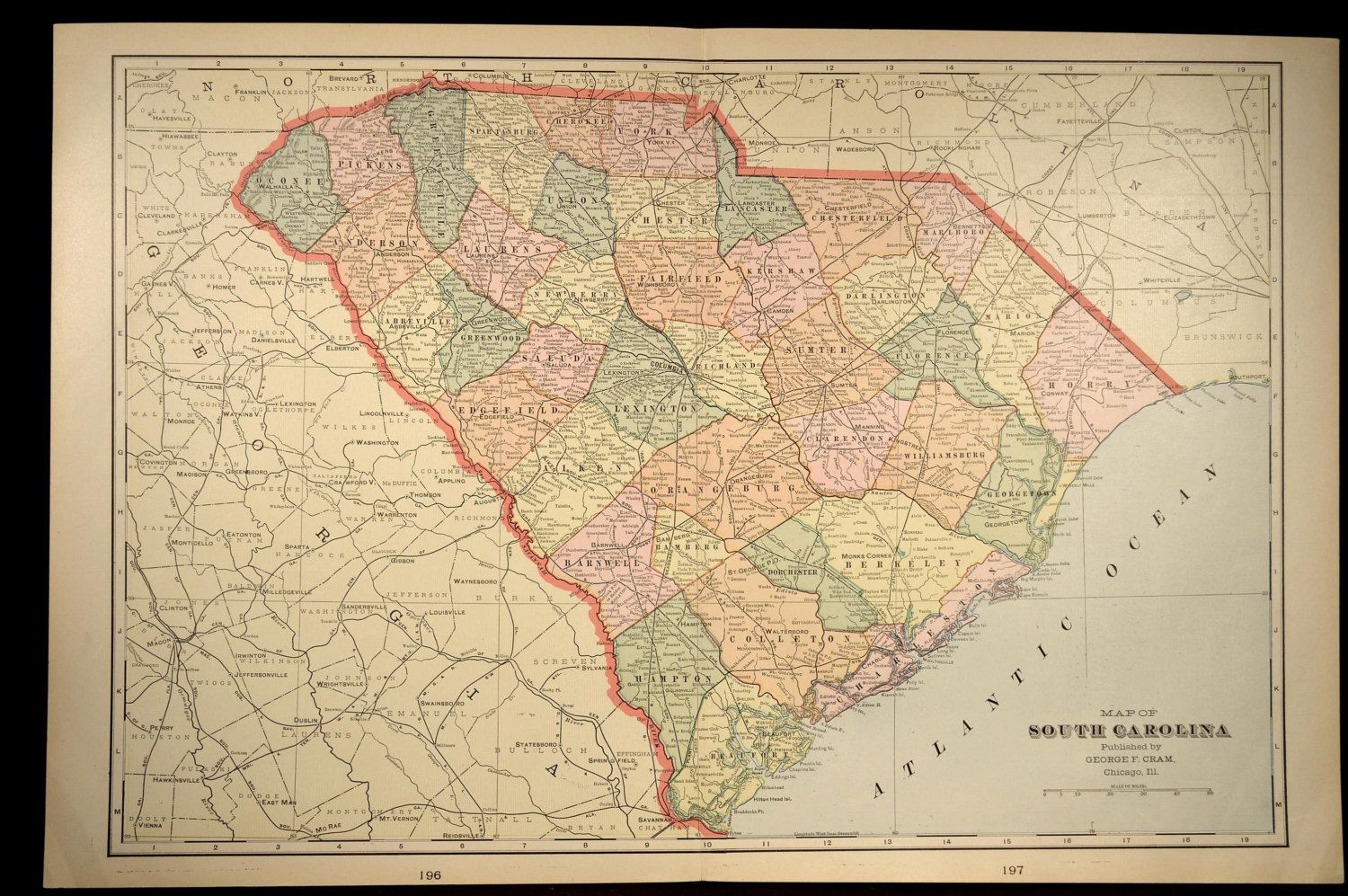 South Carolina Map of South Carolina Antique LARGE Wall Decor | Map ...