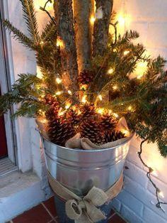 Front porch bucket  Front porch bucket #weihnachtsdekohauseingangaussen