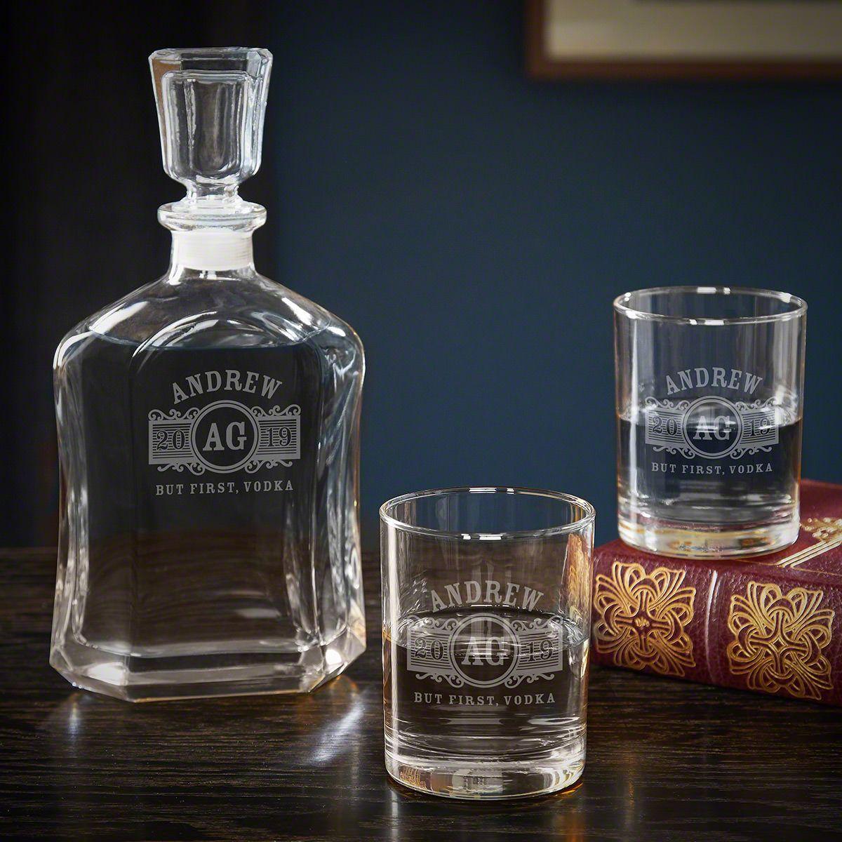 Marquee Custom Vodka Decanter Set With Rocks Glasses Whiskey Decanter Set Vodka Decanter Decanter Set