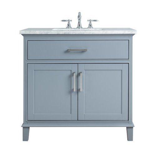 Stufurhome 36 Inch Leigh Single Sink Vanity Marble Carrara White