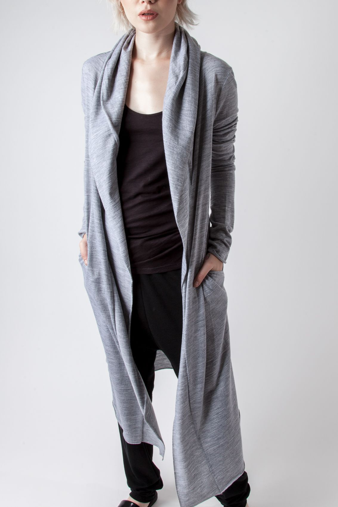 Hooded cardigan with shawl collar and side pockets. 100% New ...