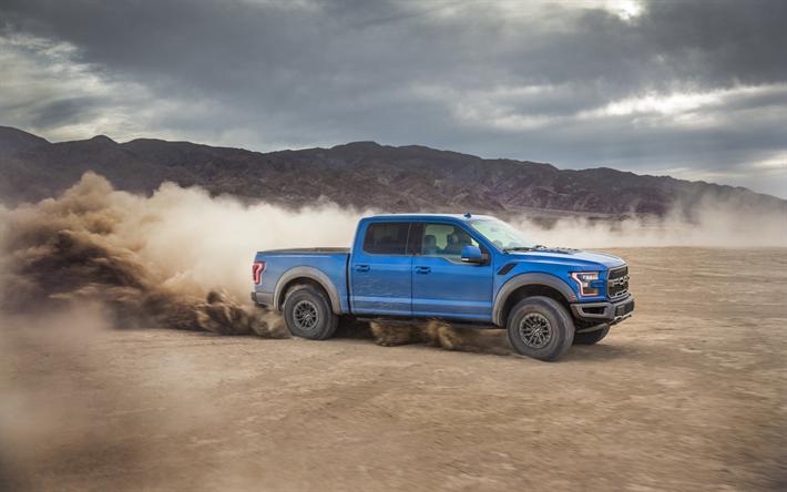 Download Wallpapers 4k Ford F 150 Raptor Dust 2019 Cars Offroad Blue F 150 Raptor Desert Ford Besthqwallpapers Com Ford Raptor Ford F150 Ford Gt