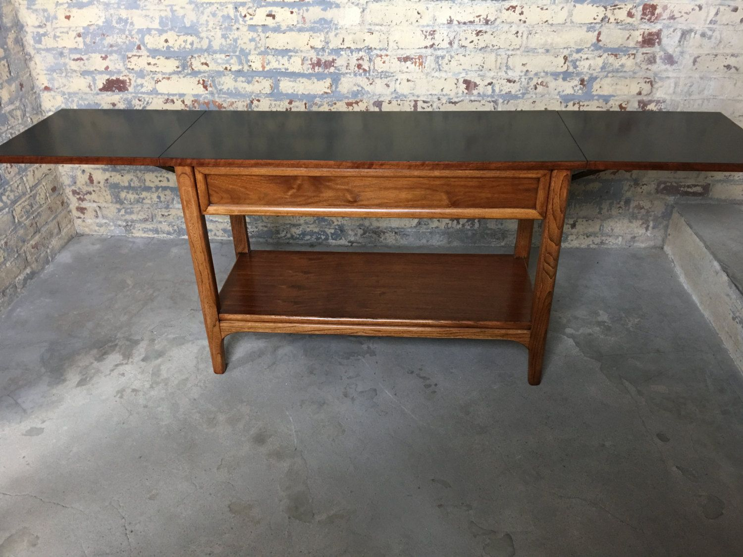 Mid Century Modern Drop Leaf Bar Cart   Lane Drop Leaf Bar   Mid Century  Desk