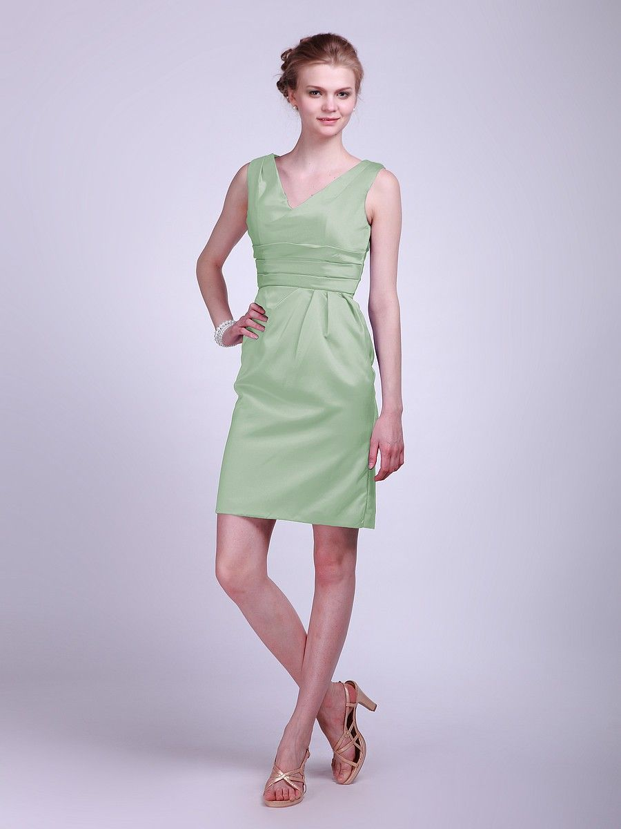 Classy Satin Mint Green Bridesmaid Dresses YEAD325