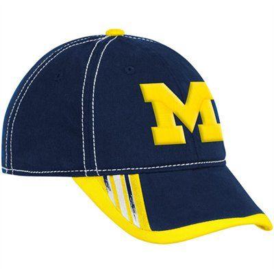 19ac30811f848 adidas Michigan Wolverines Navy Blue-Maize Players Slope Flex Hat ...