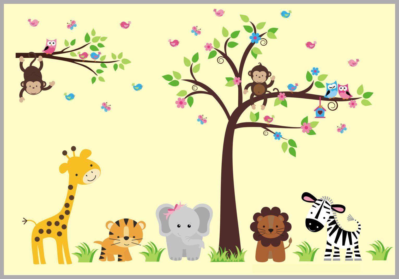 Nursery Tree Sticker - Nursery Wall Decal - Animal Themed Wall ...